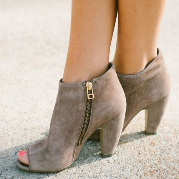 Women's Grey Suede Peep Toe Chunky Heel Boots Commuting Zipper Ankle Booties image 1