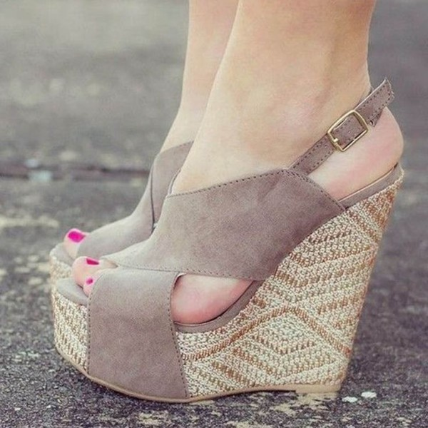 Women S Grey Wedge Sandals Slingback Peep Toe Platform