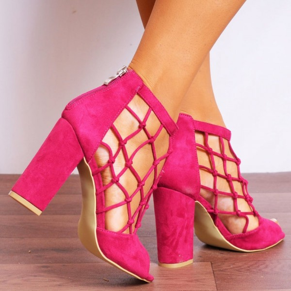 Hot Pink Suede Chunky Heel Sandals Fishnet Peep Toe High Heel Shoes image 4