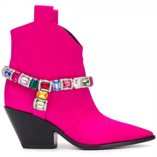 Women's Orchid Rhinestone Cowgirl Boots Chunky Heels Ankle Booties image 3