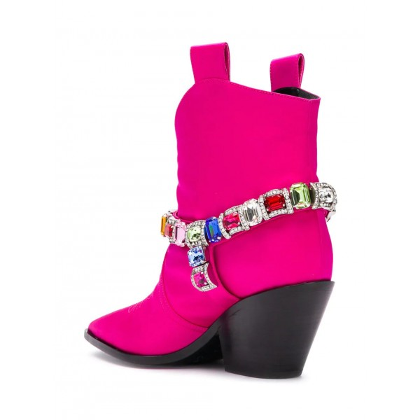 Women's Orchid Rhinestone Cowgirl Boots Chunky Heels Ankle Booties image 4