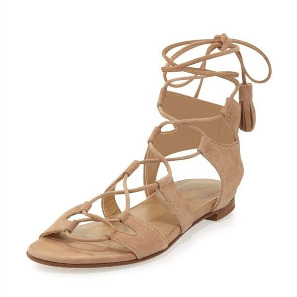 Khaki Lace up Sandals Comfortable Flats Tassles Gladiator Sandals image 1