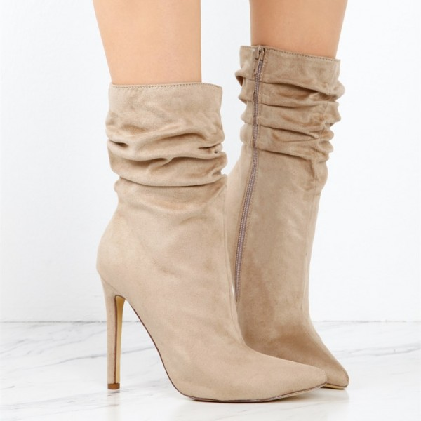 Women's Khaki Stiletto Boots Fashion Suede Pointy Toe Ankle Boots  image 2