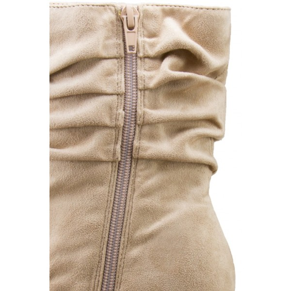 Women's Khaki Stiletto Boots Fashion Suede Pointy Toe Ankle Boots  image 3