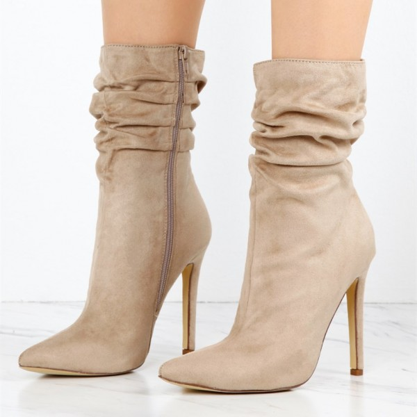 Women's Khaki Stiletto Boots Fashion Suede Pointy Toe Ankle Boots  image 1