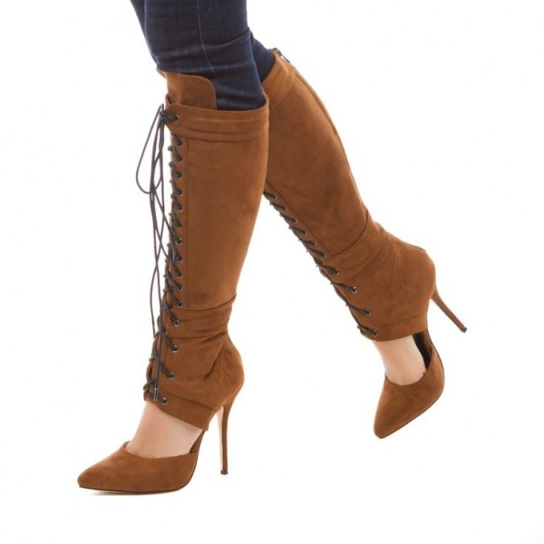 Tan Boots Suede Cut out Pointy Toe Stiletto Heel Lace up Boots image 1
