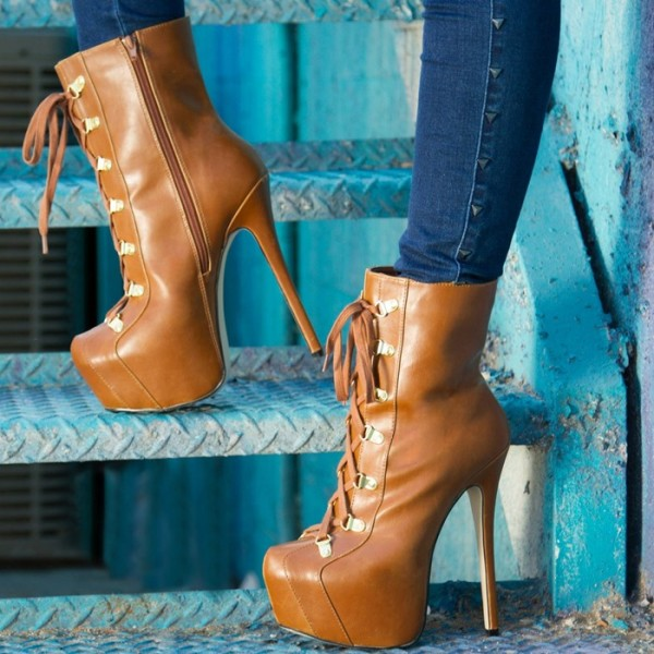 Women's Lace up Boots Stiletto Heels