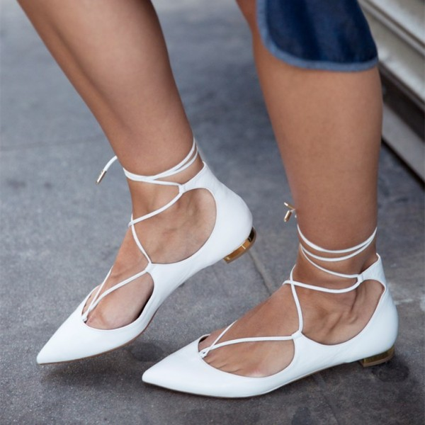 White Pointy Toe Lace up Flat Casual Shoes for Women image 1