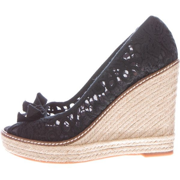 Black Espadrille Wedges Peep Toe Lace Heels Platform Pumps image 2
