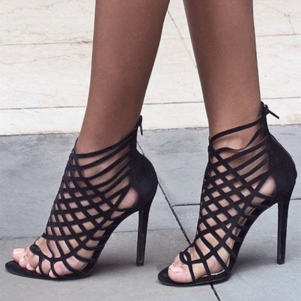 Women's Leila Black Caged Open Toe Stiletto Heel Strappy Sandals image 1