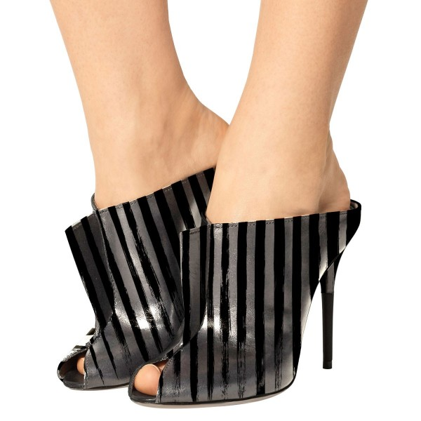In Seaon Black and Silver Striped Stiletto Heels Trendy Mules image 1