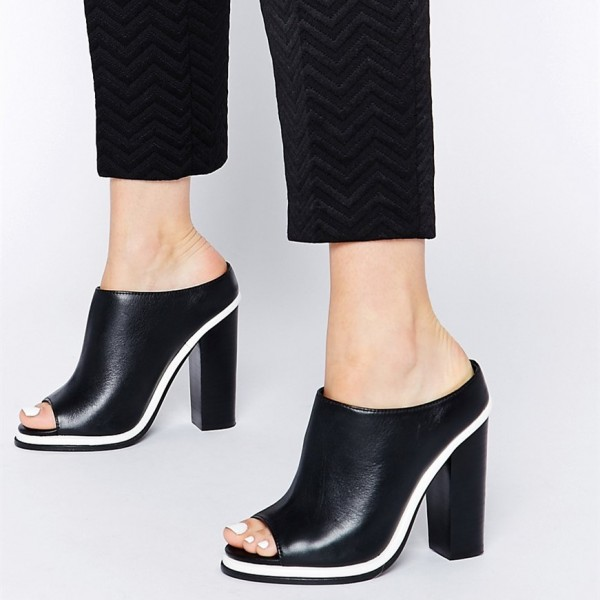 Black and White Mule Heels Peep Toe Chunky Heels for Office Lady image 1