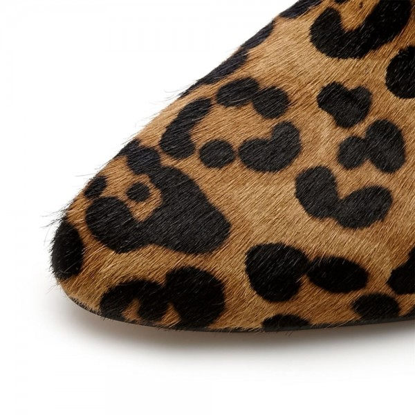 Leopard Booties Closed Toe Back Lace up Cheetah Calf Hair Kitten Heels image 6
