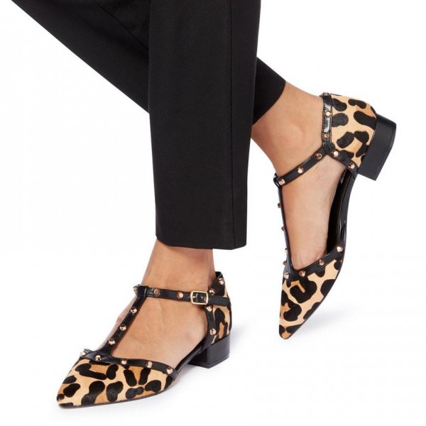 Women's Leopard Print Heels Chunky Heels T Strap Pumps with Rivets image 1
