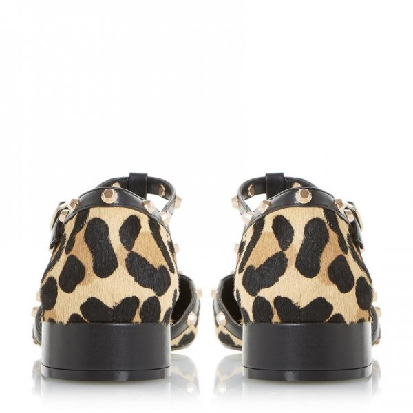 Women's Leopard Print Heels Chunky Heels T Strap Pumps with Rivets image 4