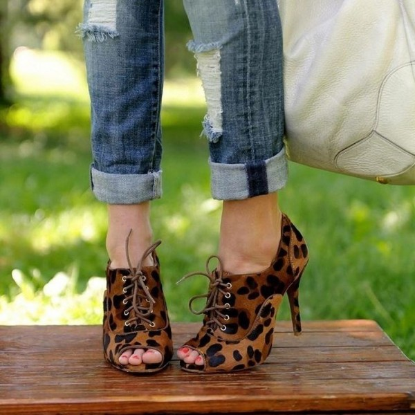 Women s Leopard Print Boots Lace up Peep Toe Heels Ankle Booties image ... 22e365c3e8