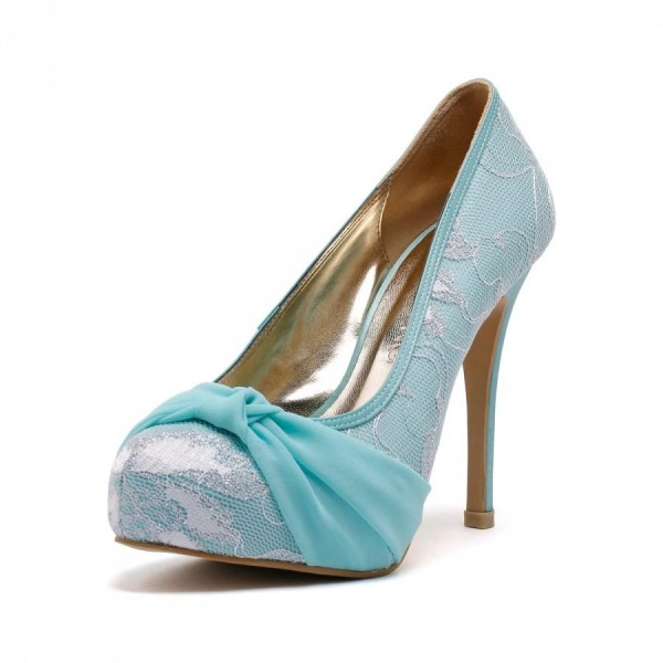 Turquoise Wedding Shoes Lace Heels Platform Pumps with Bow image 1