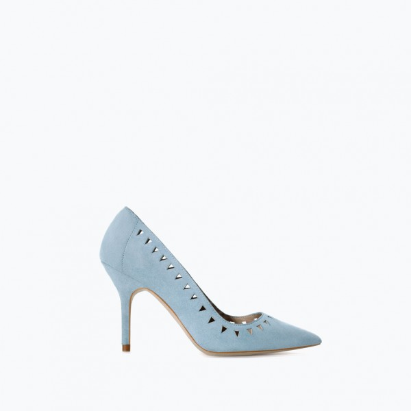 Women's Light Blue Hollow Out Stiletto Heels Pumps image 2