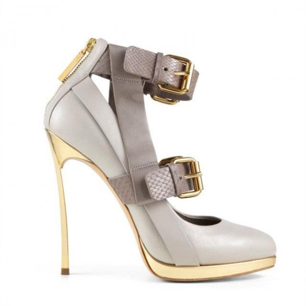 Women's Light Grey Ankle Strap Golden Stiletto Pumps Heels Shoes image 2