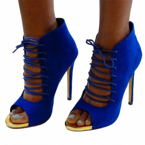Cobalt Blue Summer Boots Suede Peep Toe Stiletto Heel Lace up Booties image 1