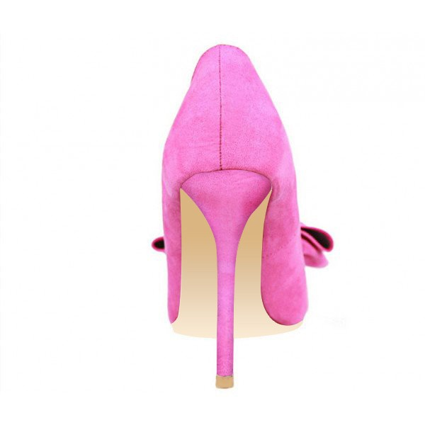 Fuchsia Bow Heels Pointy Toe Suede Stiletto Heel Pumps image 3