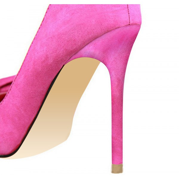 Fuchsia Bow Heels Pointy Toe Suede Stiletto Heel Pumps image 4