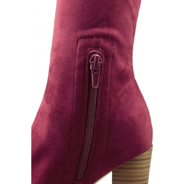 Dark Red Sock Boots Suede Peep Toe Chunky Heel Ankle Boots image 2