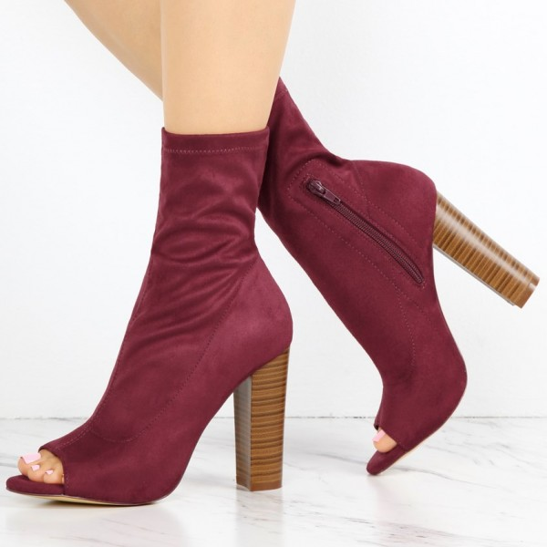 Dark Red Sock Boots Suede Peep Toe Chunky Heel Ankle Boots image 1