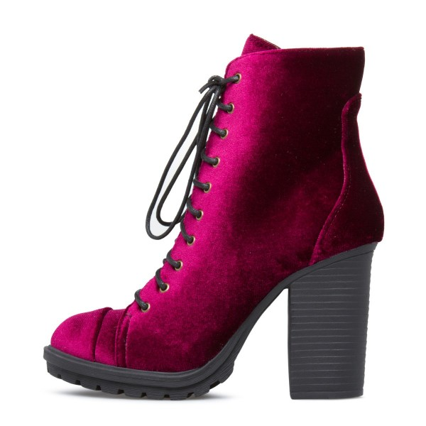 Burgundy Velvet Lace up Boots Chunky Heel Fashion Boots US Size 3-15 image 1