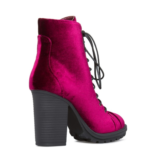 Burgundy Velvet Lace up Boots Chunky Heel Fashion Boots US Size 3-15 image 3