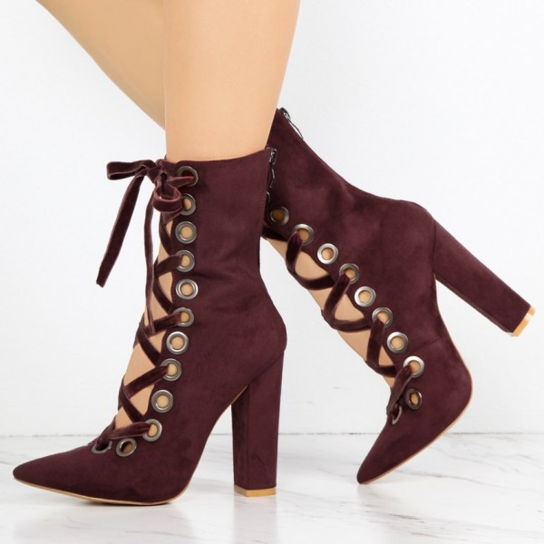 5924b7fbc Women s Maroon Chunky Heels Boots Fashion Lace Up Suede Ankle Boots image  ...