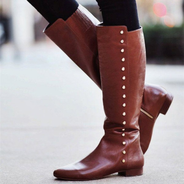 Brown Knee Boots Studs Flat Vintage Shoes US Size 3-15 image 1