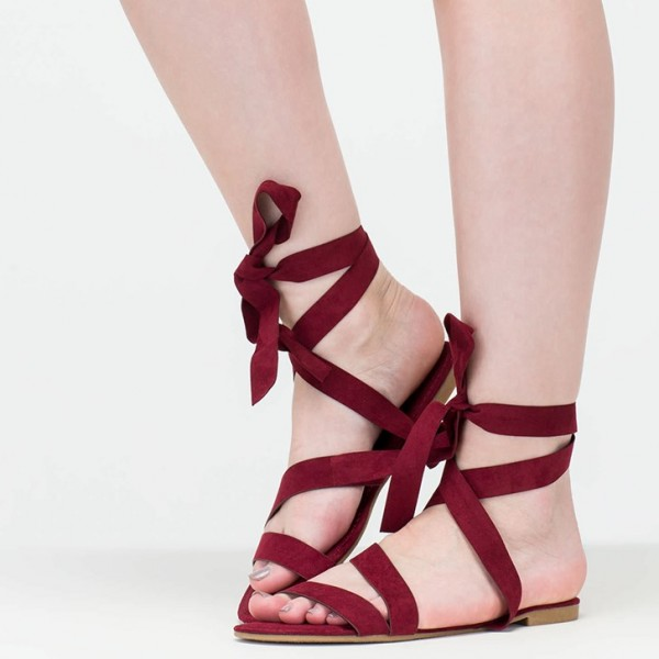 Women's Maroon Open Toe Strappy Sandals Comfortable Flats image 1