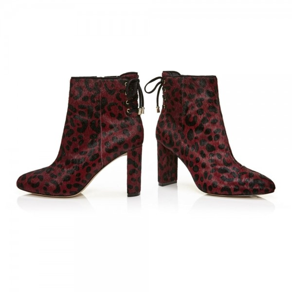 Maroon Leopard Print Boots Chunky Heels Horse Hair Ankle Boots image 5