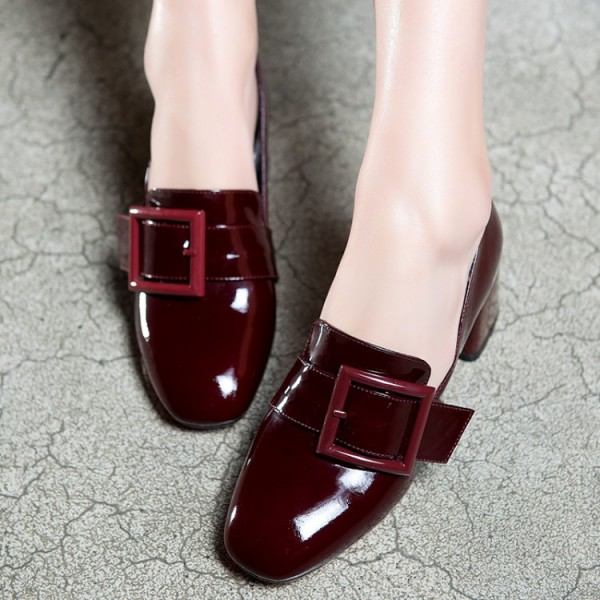 0f351a7073a Women s Maroon Square Toe Chunky Heels Commuting Vintage Shoes image ...
