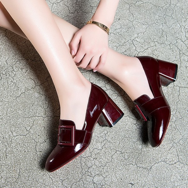 Women's Maroon Square Toe Chunky Heels Commuting Vintage Shoes image 2