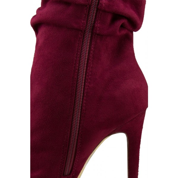 Women's Maroon Stiletto Boots Fashion Suede Pointy Toe Ankle Boots image 3