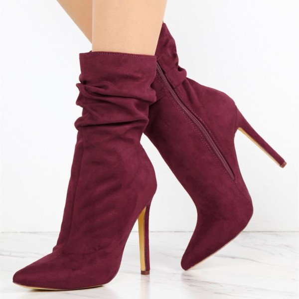 Women's Maroon Stiletto Boots Fashion Suede Pointy Toe Ankle Boots image 1