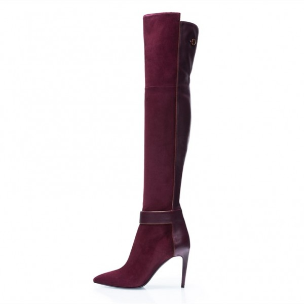 Burgundy Boots Pointy Toe Stiletto Heel Over-the-Knee Boots image 1