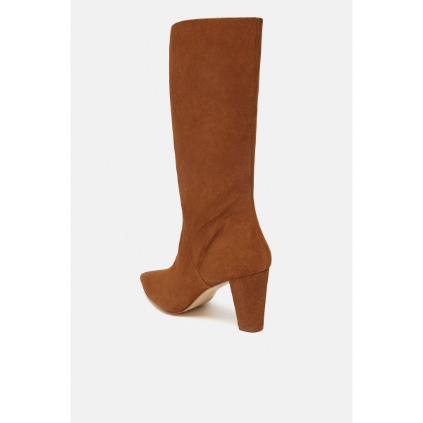 Women's Mid Calf Tan Boots Vintage Pointy Toe Chunky Heel Boots image 3