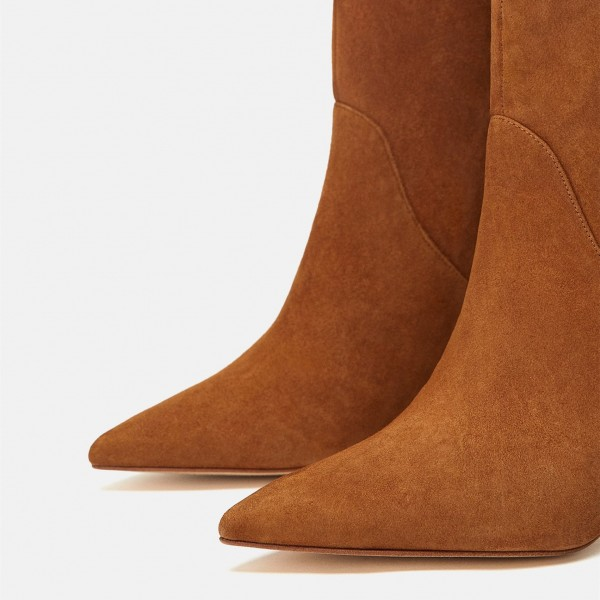 Women's Mid Calf Tan Boots Vintage Pointy Toe Chunky Heel Boots image 4
