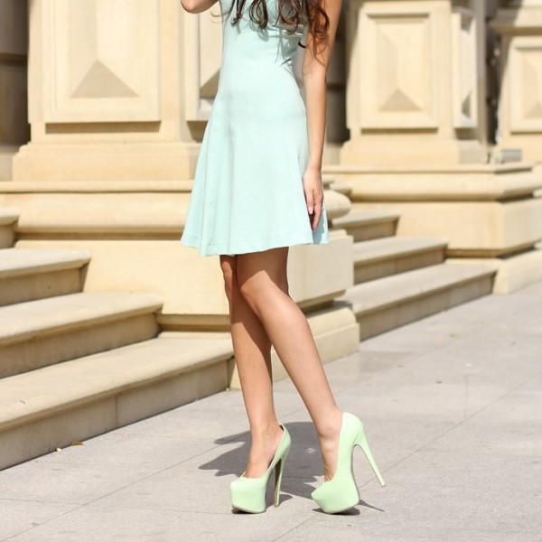Mint Green Platform Heels Stilettos High Heel Pumps for Women image 1