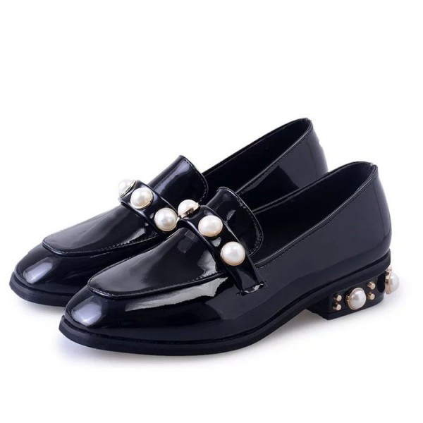 Navy Patent Leather Square Toe Low Heel Pearls Loafers for Women image 1