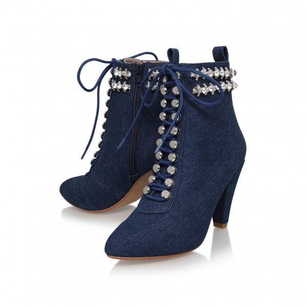 Women's Navy Jeans Rhinestone Lace Up Ankle Denim Boots image 1