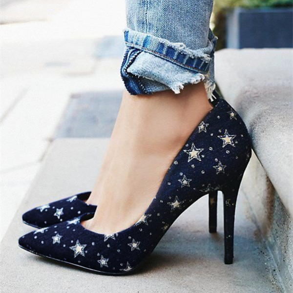 Women's Navy Star Floral Heels Pointed Toe stiletto Pumps image 1