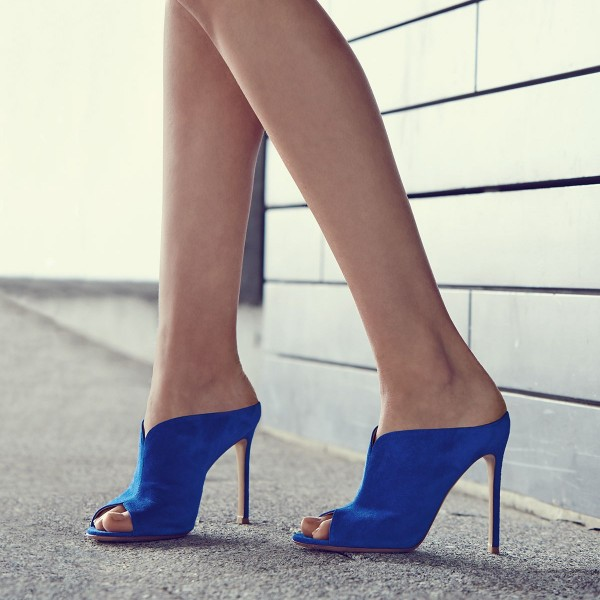 Cobalt Blue Shoes Peep Toe Suede Stiletto Heel Mules for Office Ladies image 1