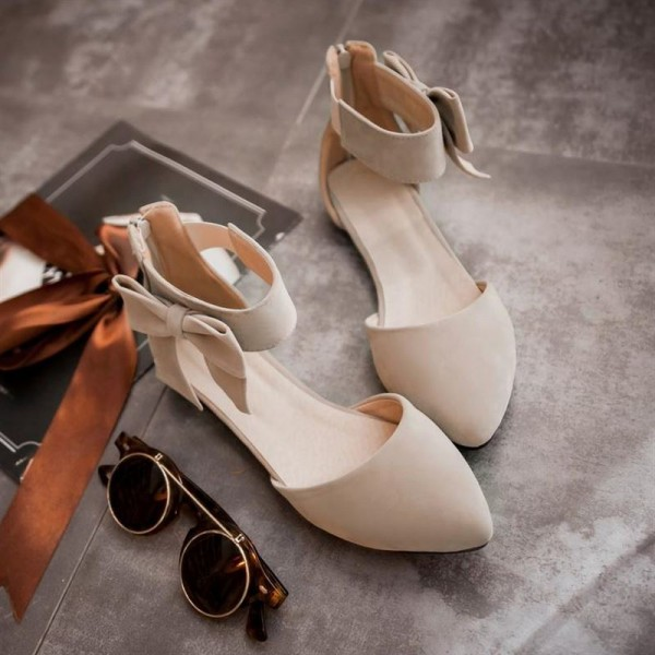 Women's Nude Ankle Strap Bow Pointed Toe Comfortable Flats image 4