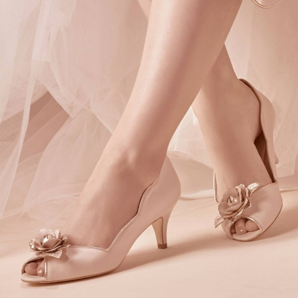 Women's Nude Bridal Heels Golden Rose Kitten Heels Pumps image 1