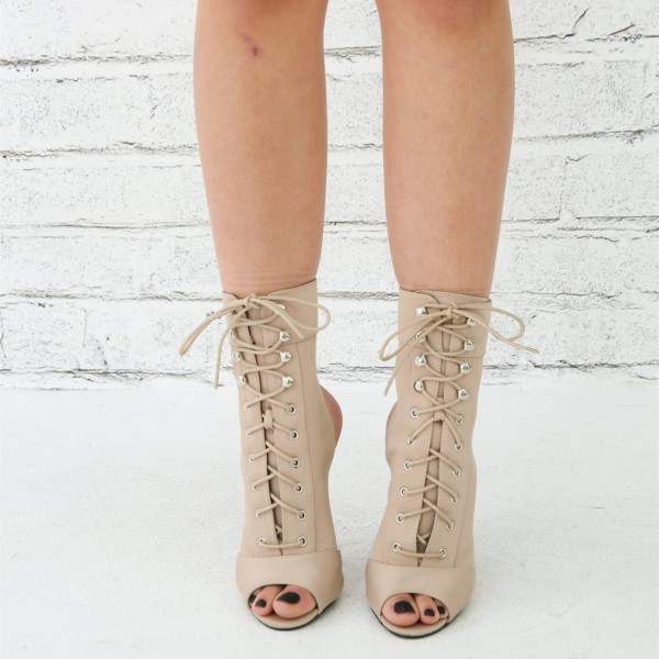 Women's Nude Lace up Boots Peep Toe Stiletto Heel Ankle Booties image 3