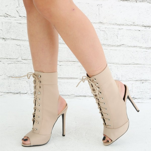 Women s Nude Lace up Boots Peep Toe Stiletto Heel Ankle Booties image ... 1664966cc9